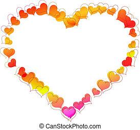 corazón formó, marco, hecho, de, pequeño, corazón, shapes.
