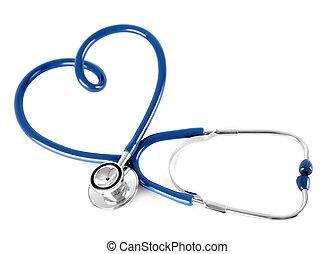 corazón, forma, azul, estetoscopio, aislado, blanco