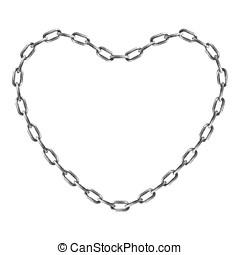 corazón, forma, cadena