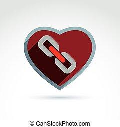 corazón, forma, enlace, cadena, icono