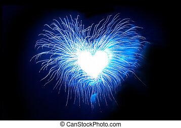 corazón, fuegos artificiales