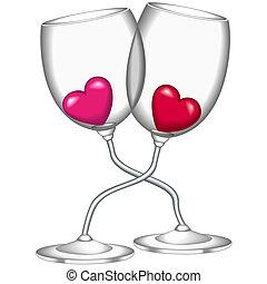 corazón, gafas vino