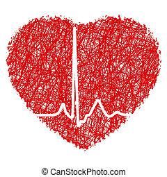 corazón, garabato, con, corazón, beat., eps, 8