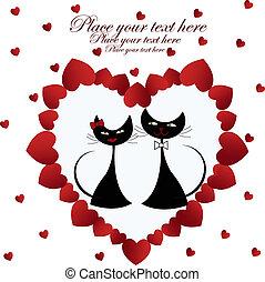 corazón, gatos, negro, enamoured