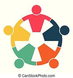 corazón, gente, cumbre, tenencia, room., mismo, hands., potencia, círculo, cinco, trabajadores, reunión
