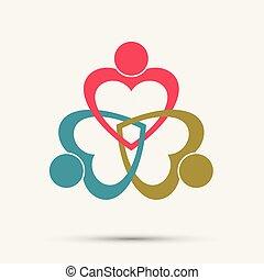 corazón, gente, cumbre, tenencia, room., mismo, hands., potencia, círculo, tres, trabajadores, reunión