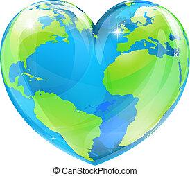 corazón, globo, concepto, mundo