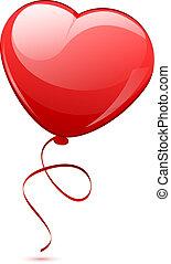 corazón, globo, ilustración, rojo