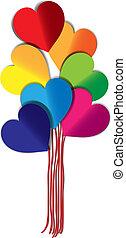 corazón, globos, colorido, formado