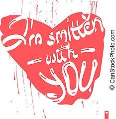 corazón, golpeado violentamente, amor, estilizado, ...