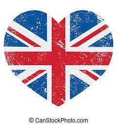 corazón, gran bretaña, bandera, retro, reino unido