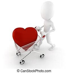 corazón, grande, compra, 3d, rojo, hombre