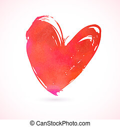 corazón, grunge, pintado, mano, vector, tarjeta