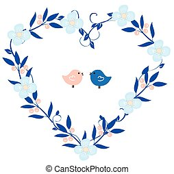 corazón, guirnalda, Aves