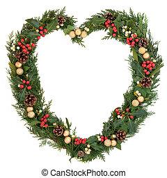 corazón, guirnalda, navidad