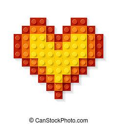 corazón, hecho, bloques, plástico