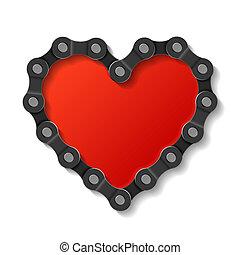 corazón, hecho, cadena