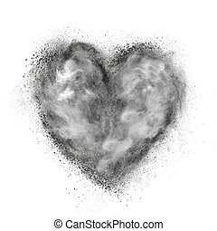 corazón, hecho, de, negro, polvo, explosión, aislado, blanco