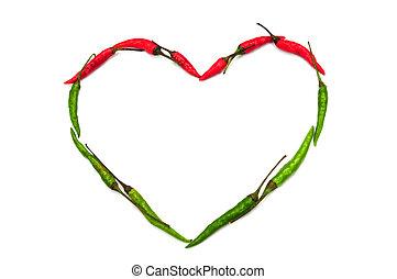 corazón, hecho, de, pimienta chili, aislado, blanco