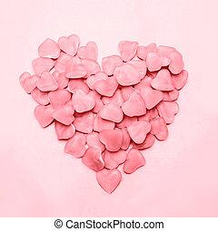 corazón, hecho, de, rosa, dulce