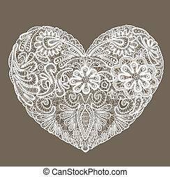 corazón, hecho, encaje, mantelito, valentines, elemento, ...