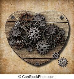 corazón, hecho, metal, oxidado, engranajes, humano, modelo,...