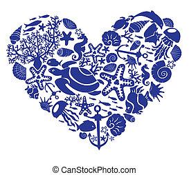 corazón, hecho, peces, corales