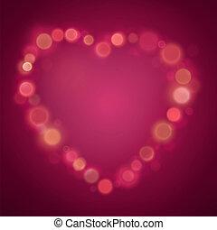 corazón, hecho, puntos, día de valentines, efecto, bokeh, brillo