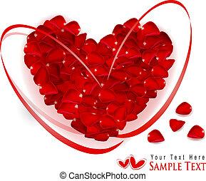 corazón, hecho, regalo, fondo., rosa, valentineçs, pétalos,...