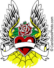 corazón, heráldico, emblema, ala, tatuaje