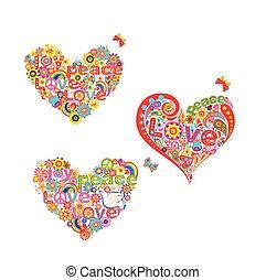 corazón, hippie, aislado, colección, forma, plano de fondo, floral, blanco