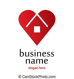 corazón, hogar, logotipo