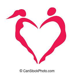 corazón, hombres, mujeres