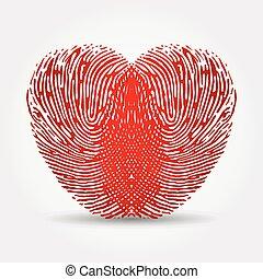 corazón, huella digital