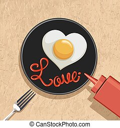corazón, huevo frito, con, amor, letras