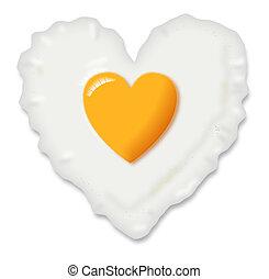 corazón, huevo frito