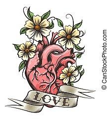 Corazón Flores Dibujo Humano Fondo
