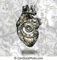 corazón humano, engranajes, y, tiempo, spirial