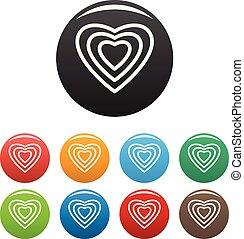 corazón humano, iconos, conjunto, color, vector