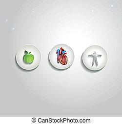 corazón humano, y, asistencia médica, símbolos, cardiología, iconos