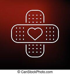 corazón, icono, ayuda, rojo, banda