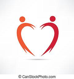 corazón, icono, gente