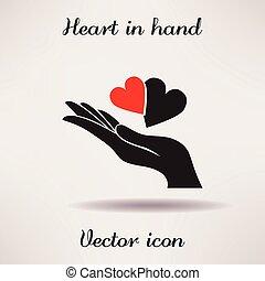 corazón, icono, mano, vector, plantilla, pictografía, design...