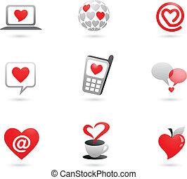 corazón, iconos, -, 2