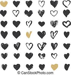corazón, iconos, conjunto, mano, dibujado, iconos, y, ilustraciones, para, día de valentines
