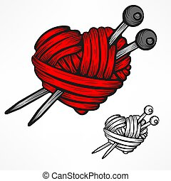corazón, illustration., hilo, vector, white., lana, rojo