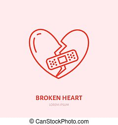 corazón, illustration., relación, plano, arriba, señal, interrupción, problem., angustia, icono, línea quebrada