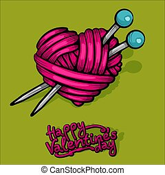 corazón, illustration., vector, yarn., lana, rojo
