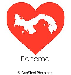 corazón, ilustración, con, el, forma, de, panamá
