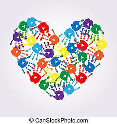corazón, impresiones, colorido, mano